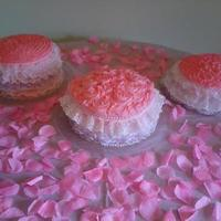 3 Pink Rosy Lacy Cakes