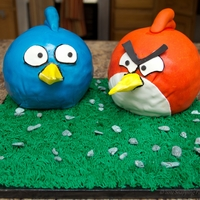 Angry Birds Cake Friend wanted an Angry Birds cake with room on the cake board for cupcakes and cookies. TFL!