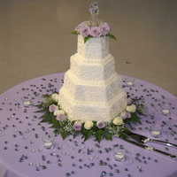 4 Tier Hexagon Flowers This was a four tiered marbled cake with mixed fillings