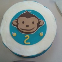 Mod Monkey 2Nd Bithday Cake inspired by the plates for my sons party. I did what i called a chunky monkey cake- alternating layers of chocolate chip& vanilla cake...