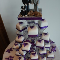 Dendrobium Orchid Mini Cakes Individual red velvet cakes with sugar dendrobium orchids and personalised cake toppers