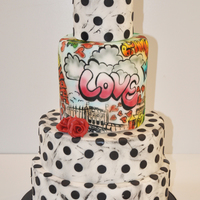 Graffiti Art Cake A Signature Brighton Cakes Cake With Distressed Polka Dot Effect And Red Roses The Middle Double Height Tier Is A Combi Graffiti art cake - a signature Brighton Cakes cake with distressed polka dot effect and red roses. The middle double height tier is a...