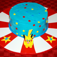 Pikachu, I Choose You! Vanilla buttermilk cake, raspberry filling. Fondant Pikachu and stars.