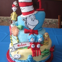 Dr. Seuss Theme Bday Cake  My best friend's nephew's birthday party was all Dr. Seuss themed. Super cute!The cake was WASC with raspberry filling. Covered...