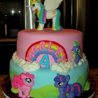 My Little Pony   My Little Pony themed birthday cake. Fondant covered with fondant/gum paste accents.