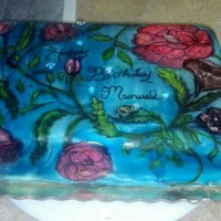 Hand Painted Birthday Cake Edible rhinestones on mmf