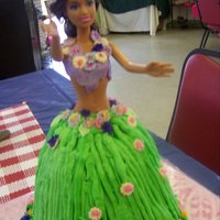 Hula Doll Cake Fondant top and flowers, bc frosting.