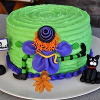 Witch Crash Cake Buttercream cake and the rest if fondant