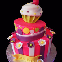 Madison's Whimsical Cake Three tier whimsical cake done for little Madison who was turning 1. Originally, the parents requested a whimsical cake with purple, pink...