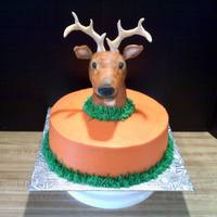 Deer Hunter 10 inch White cake with Buttercream icing. Deer head shaped from Rice Krispie Treats, covered with fondant, painted with gel colors. I bent...