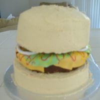 Hamburger Cake Vanilla cake with chocolate mousse filling. The pattie was a rice krispie treat frosted with chocolate frosting. All accents are fondant.