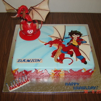 Bakugan Cake The idea for this cake was derived from a few pictures found on the net. Thank you to those responsible!The picture of Dan and the dragon...