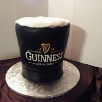 Guinness   Guinness Groom's cake with linking hearts in foam