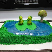 Frog Cake I know the frogs and mushrooms are not edible, but I'm not artistic enough to make them out of fondant. I used some blue gel to make...