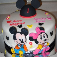Mickeyandminnie Mickey and Minnie made from fondant cutouts...for twin that will be 1