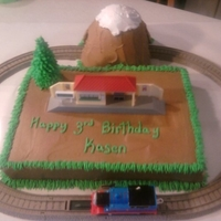 Thomas The Train   train moved on track..went thru the cake mtn