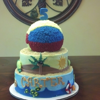 Just Beachy 10 and 8 inch vanilla cakes with buttercream icing and fondant accents. Beach ball is also vanilla cake.