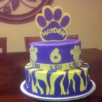 Lsu Birthday Cake 10 and 8 inch cakes, fondant decorations.