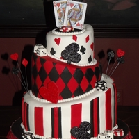 Casino Themed Wedding Cake   Topsy Turvy Casino themed wedding cake
