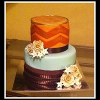 Chevronaquacoralgoldchocolatefondantribbonflowers Chevron,aqua,coral,gold,chocolate,fondant,ribbon,flowers