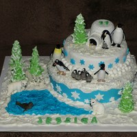 "Snow Cake The Snow Is Made From Royal Icing And The Cakes Are Covered With Gum Paste The Trees Are Made From Mini Icecream Cones Covered ""Snow Cake""The snow is made from royal icing and the cakes are covered with gum paste. The trees are made from mini icecream..."