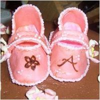 Fondant Baby Shoes Freehanded. For my sister's baby shower cake.