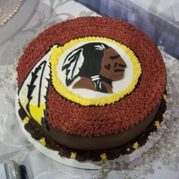 Washington Redskins Grooms Cake Chocolate-Chocolate chip grooms cake w/ chocolate icing and 'redskin' head made w/ fondant