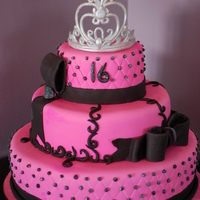Pink And Black Sweet 16 Birthday Cake The Crown Was Made Out Of Fondant Painted W Silver Luster Dust And Covered W Disco Dust pink and black sweet 16 birthday cake. the crown was made out of fondant, painted w/ silver luster dust and covered w/ disco dust.