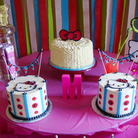 Hello Kitty Birthday Trio of Hello Kitty birthday cakes. All buttercream with fondant details.