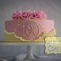 Vintage 100Th Birthday I had the honor of doing a 100th birthday cake! I was told to use light pink, roses and ruffles. This is what I came up with.