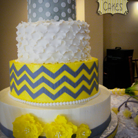 Mellow Yellow Wedding I love when brides choose a fun color scheme and design! All buttercream with fondant details.