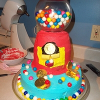 "Bubble Bubble Gum Balls 1 10inch circle cake for the base, 3 - 2""X6"" rounds stacked on a dowel rod for support, 1 glass globe with real gum balls and lid..."