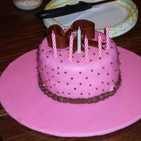 Pink And Brown Birthday Little pink and brown cake with a bow (I put one on every cake for practice =)...chocolate fudge cake with chocolate mousse and bananas......