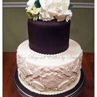 Black And White( Brown And Ivory ) Wedding Cake This is almost black and white-- more Chocolate brown and ivory , but commonly mistaken as black and white ; topper has peonies, hydrangeas...