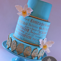 My Mom's Birthday Cake , Teal And Gold With Gumpaste Orchids, Lace And Stenciled Details.