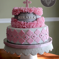 Ruffled Pink Cake For My Goddaughter's Baptism