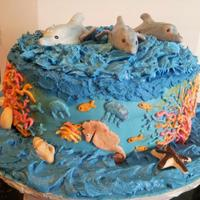 Sea Cake - Triple Chocolate W/strawberry Filling - Buttercream / Fondant / Chocolate Used   *