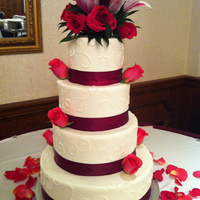 White- Burgundy Wedding Cake 3 leches vanilla cake and 3 leches chocolate cake