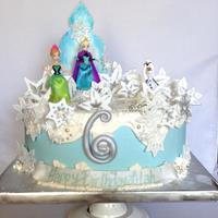 Disney Frozen Birthday Cake double dark chocolate cake with IMBC and gumpaste stars.