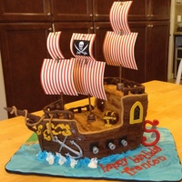 Pirate Ship With Marbled Cake Choc Ganache And Choc Fondant pirate ship with marbled cake, choc ganache and choc fondant.