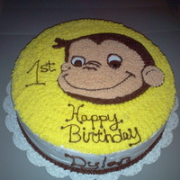Curious George White cake with buttercream icing