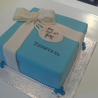 Tiffany Box Cake First attempt at a box cake. Isomalt 'jewels'