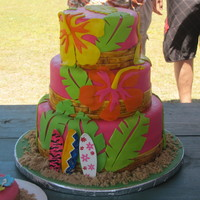 Luau Birthday 10, 8, 6 inch tiers, serves about 75