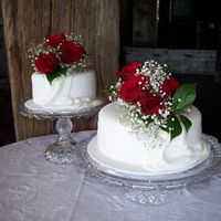 Two Tier Wedding Cake This is a tier wedding cake i made. one tier is chocolate cake and the other tier is fruit cake