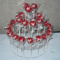 Red Wedding Favor Cake Pops Monogrammed With An H Red Wedding Favor Cake Pops Monogrammed with an H.