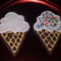 Ice Cream Cone Cookies These were for a school birthday party. Chocolate cookies with Toba's glace for detail. I liked both, but my hubby liked the colored...