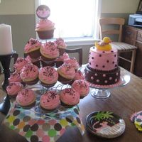 Baby Shower Cake And Cupcakes   A friend asked for cupcakes and I also did a cake (a chance to practice). Thanks for looking.