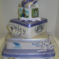 Shopaholic Sweet 16 Cake Cake was designed by birthday girl. Red velvet, smbc and white chocolate fondant. Edible images of birthday girl at different ages and...