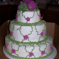 Hibiscus Bridal Shower cake decor matched tableware