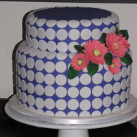 Polka Dot And Gerbera Daisy Cake